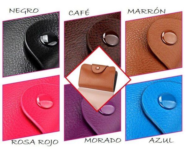 Tarjetero Unisex CUERO 6 Colores, ecológico y sostenible. Natural, 6 colores guapos