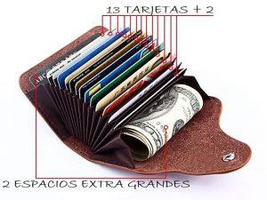 Tarjetero Unisex CUERO 6 Colores, ecológico y sostenible. Natural, caben hasta 15 tarjetas para viajar