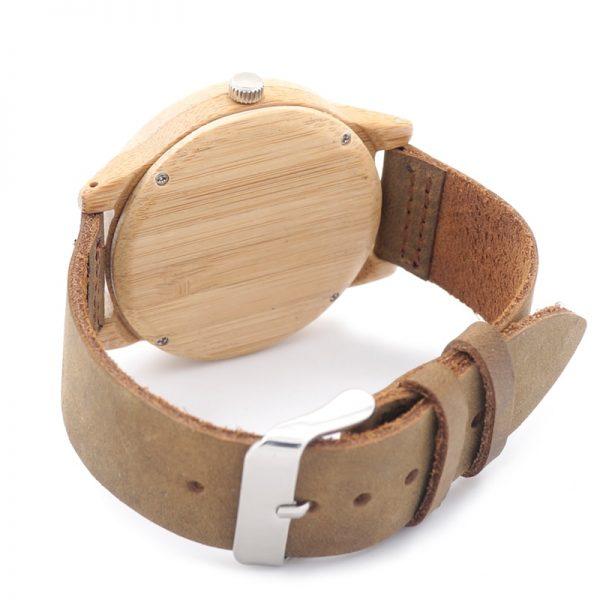 Reloj de Pulsera Casual Bambú y Cuero ecológico sostenible aceptamos criptomonedas como forma de pago