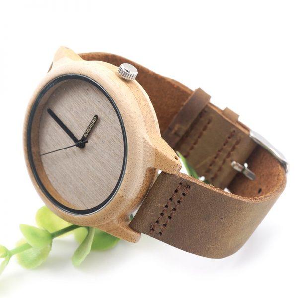 Reloj de Pulsera Casual Bambú y Cuero ecológico sostenible