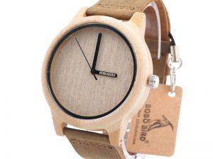 Reloj de Pulsera Casual Bambú y Cuero ecológico