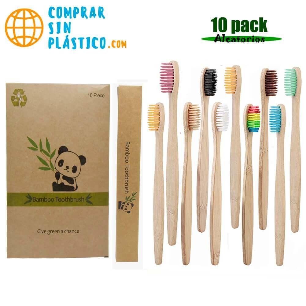 Cepillo Dientes BAMBÚ hilos de colores PACK de 10 cepillos para dientes naturales, sostenibles y reciclables, coleccionables
