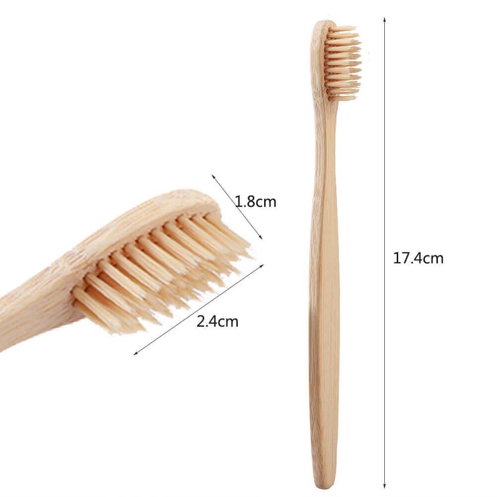 Cepillo Dientes BAMBÚ hilos de colores PACK de 10 cepillos para dientes naturales, sostenibles y reciclables, aleatorios colores
