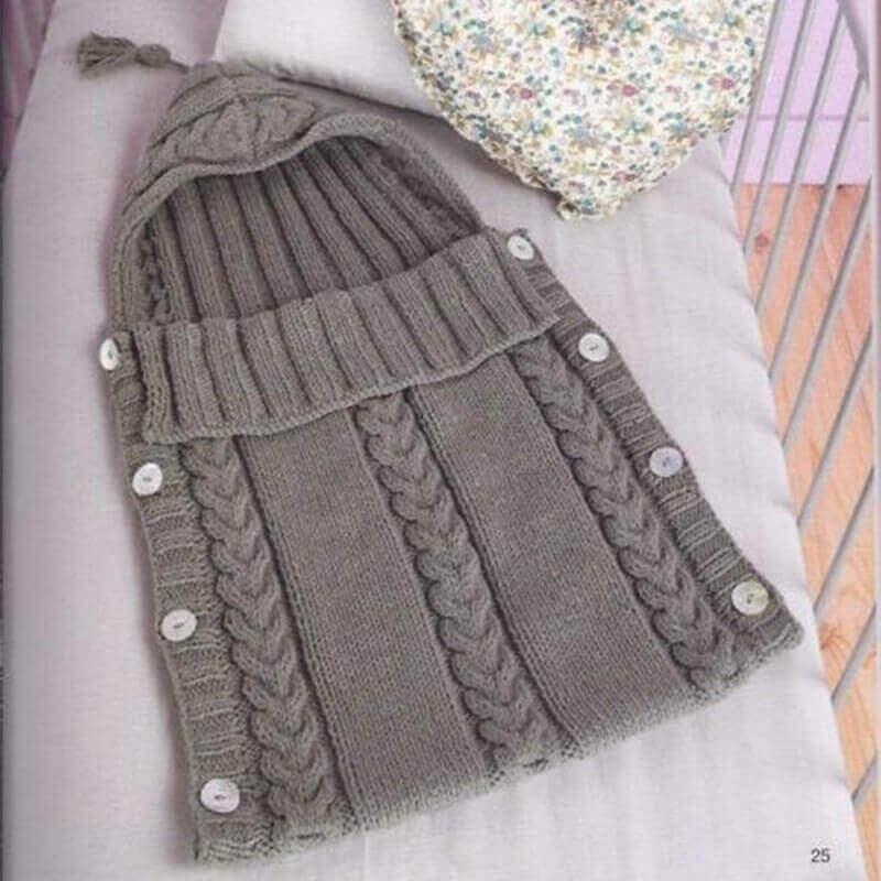 Saco ALGODÓN para bebe de Punto, ecológica, sostenible, a la moda desde pequeños SIN PLÁSTICO, para pasear, color gris