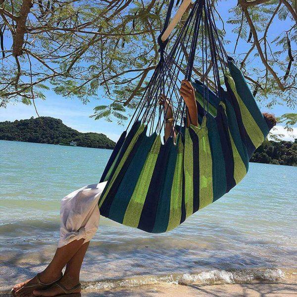 Hamaca Colgante Verde y Azul, fabricada en Algodón natural, materia prima sostenible y ecológica, a rayas verdes atemporal