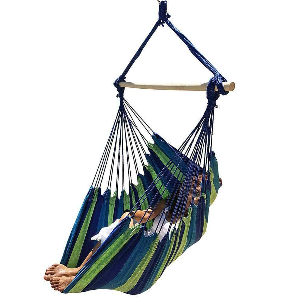 Hamaca Colgante Verde y Azul, fabricada en Algodón natural, materia prima sostenible y ecológica modelo a rayas verdes y azules auténtico
