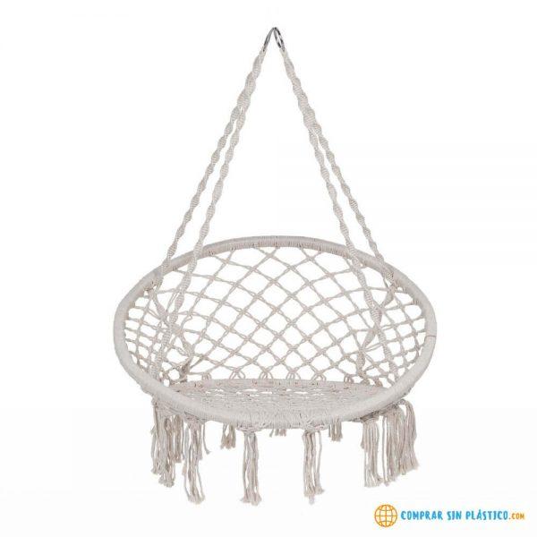 Hamaca Redonda Interior Exterior silla ecológica silla colgante blanca y negra original
