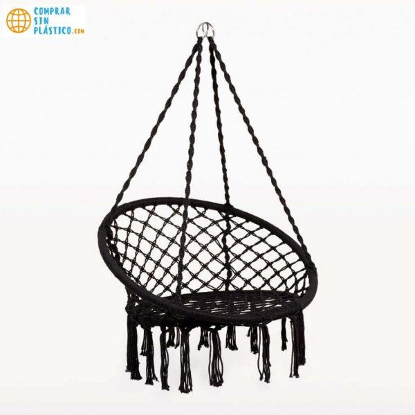 Hamaca Redonda Interior Exterior silla ecológica silla colgante blanca y negra artesanal