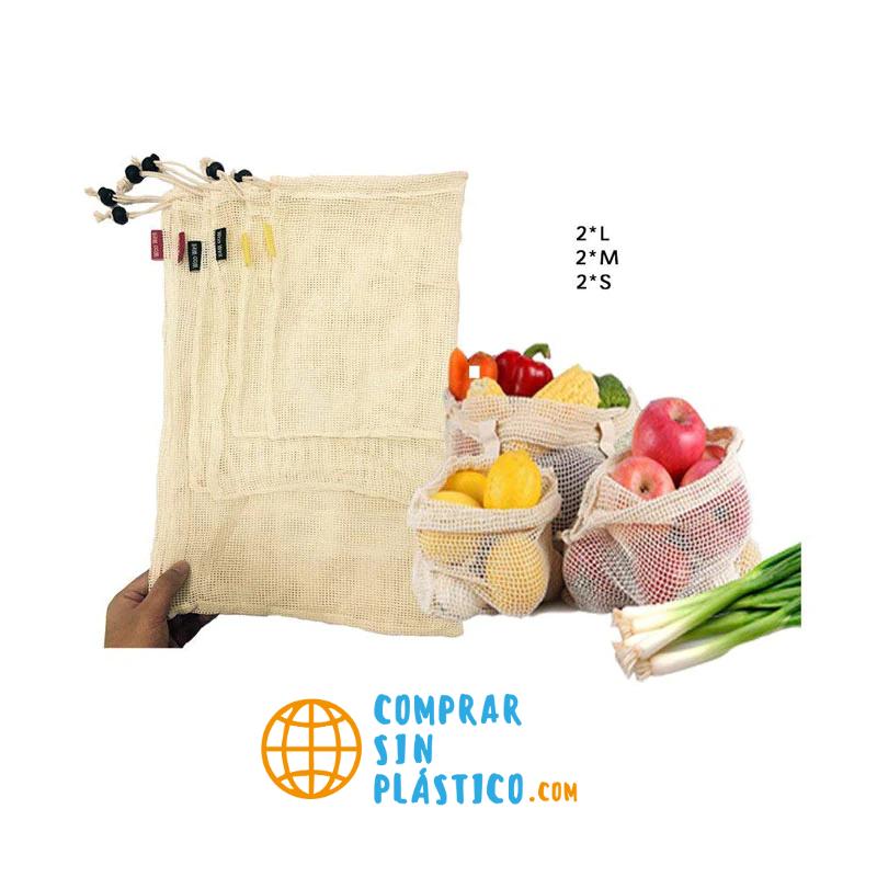 Bolsas de Malla 3 tamaños y de ALGODÓN ecológica sostenible re-utilizable reutilizable de varios tamaños y color beige