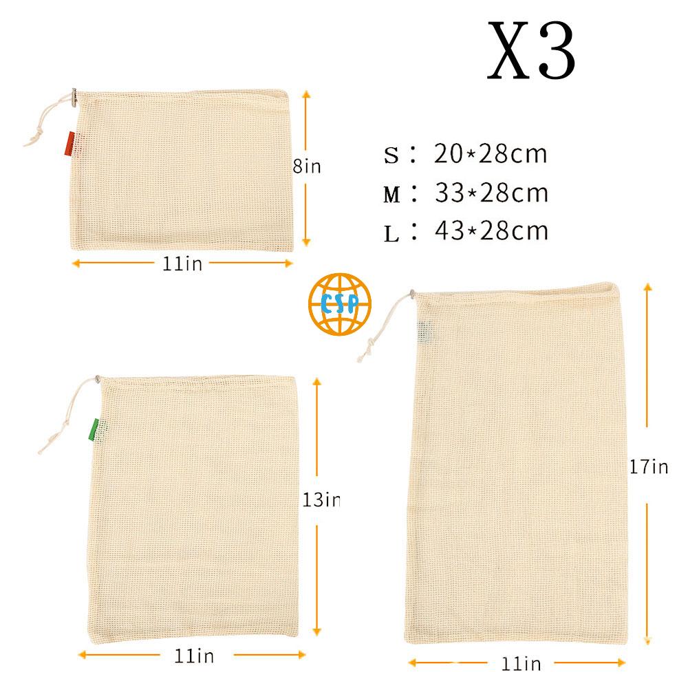 Bolsas de Malla 3 tamaños y de ALGODÓN ecológica sostenible re-utilizable reutilizable de varios tamaños y color beige 23