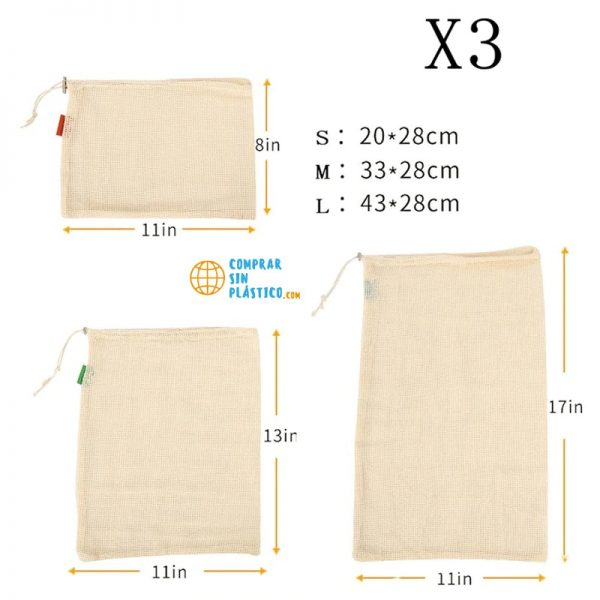 Bolsas de Malla ALGODÓN color beige diferentes tamaños materiales ecológicos 3