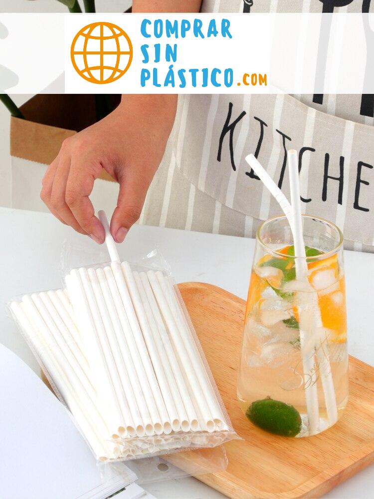 x 50 - 100 - 200 Pajitas de PAPEL blancas reciclables ecológicas casa hogar 4