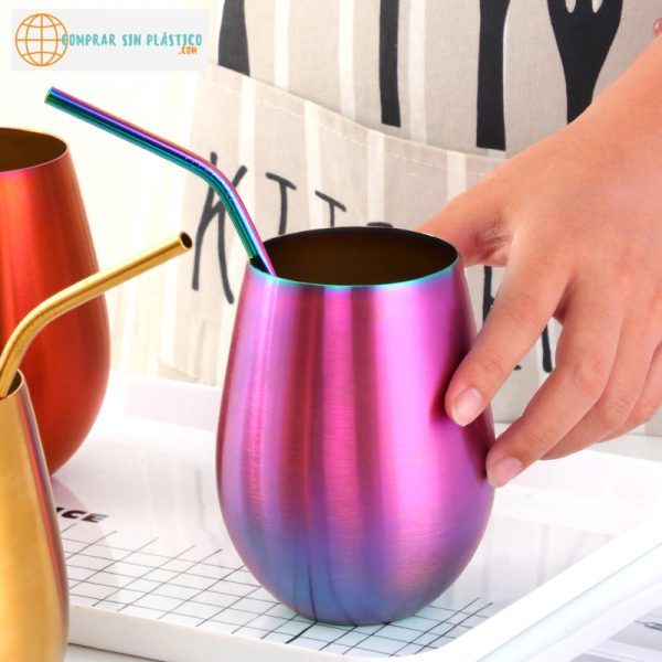 Vaso de colores acero inoxidable ecológica colores