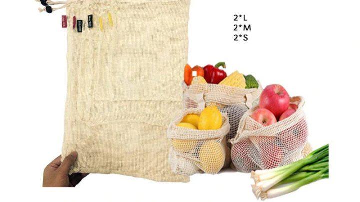 6 bolsas MALLA de algodón