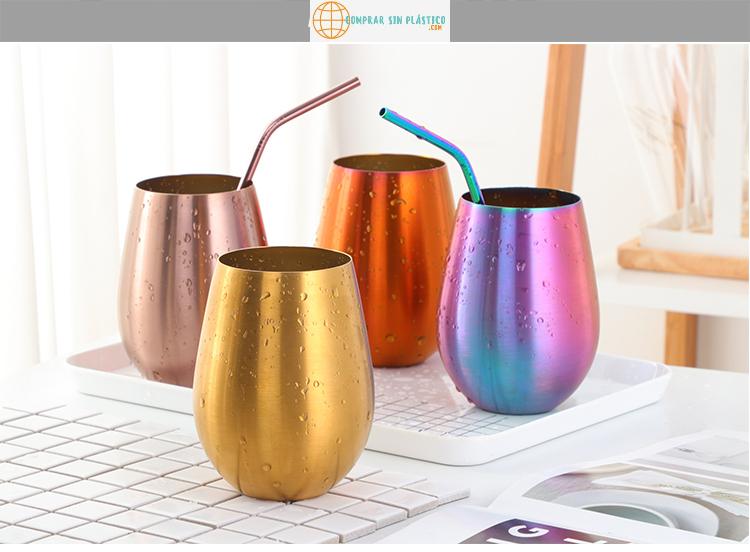 Vaso de colores acero inoxidable ecológico