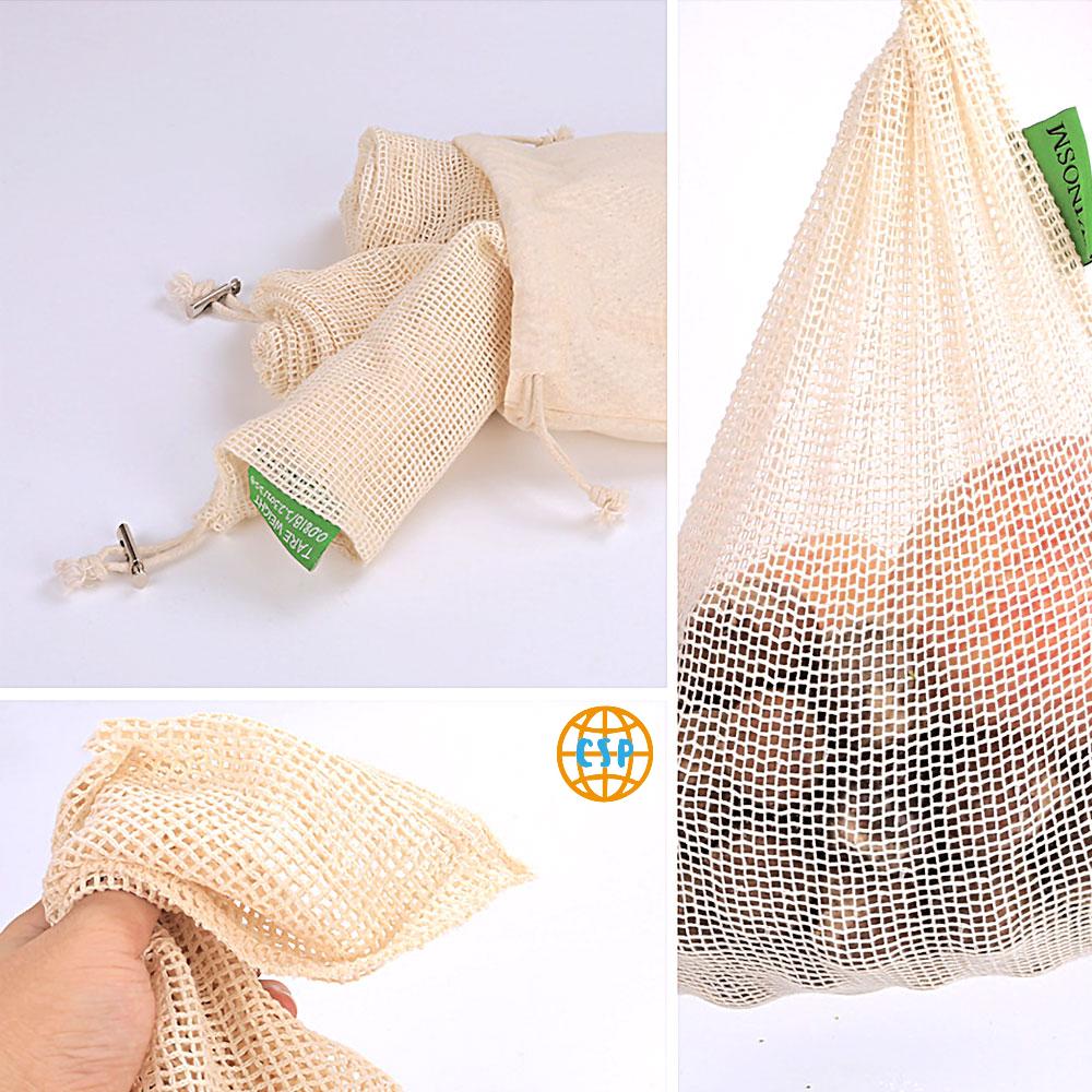 Bolsas de Malla 3 tamaños y de ALGODÓN ecológica sostenible re-utilizable reutilizable de varios tamaños y color beige 21