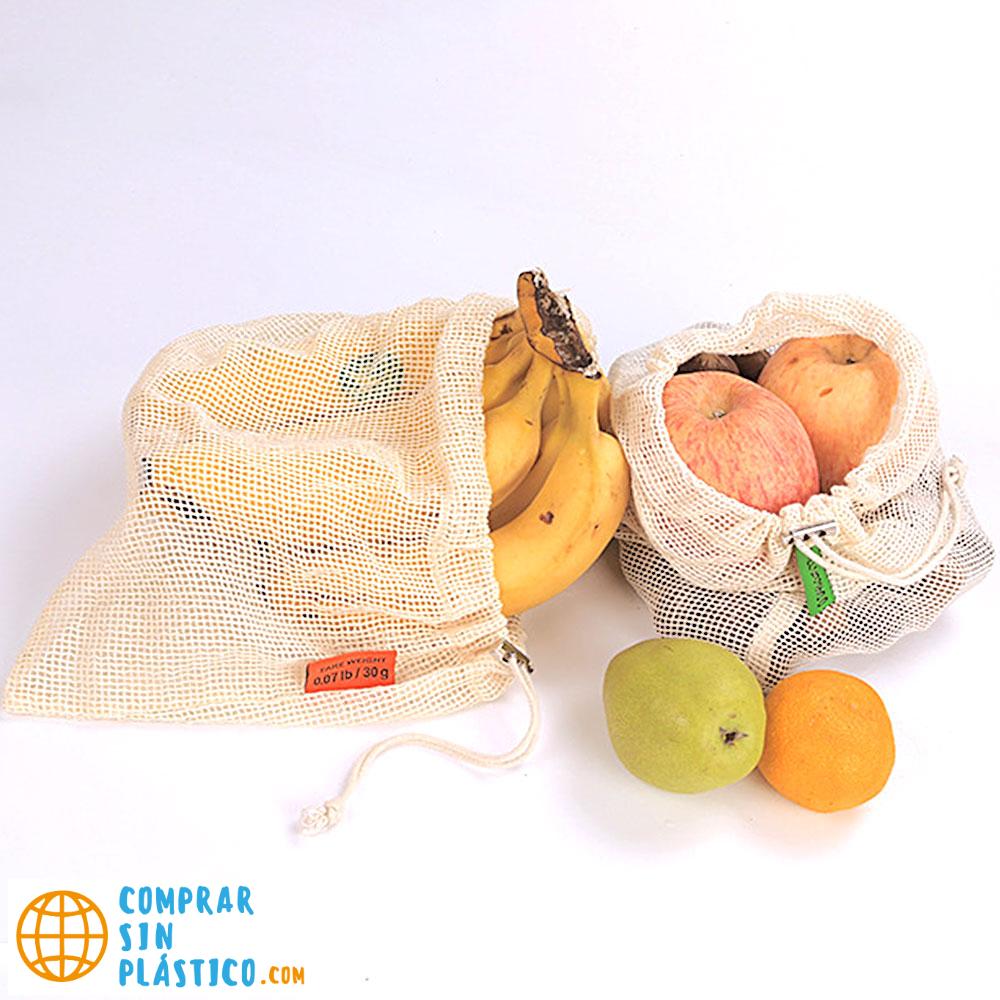 Bolsas de Malla 3 tamaños y de ALGODÓN ecológica sostenible re-utilizable reutilizable de varios tamaños y color beige 15