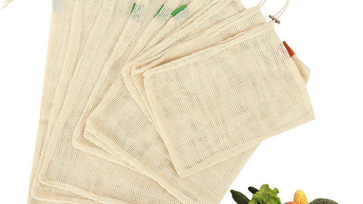 9 BOLSAS de malla de algodón