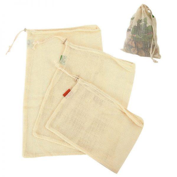 Bolsas de Malla ALGODÓN color beige diferentes tamaños 3