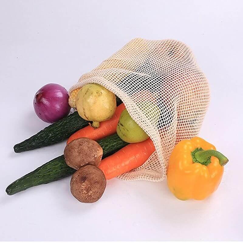 Bolsas de Malla ALGODÓN para la compra ecológica y sostenible, para alimentos