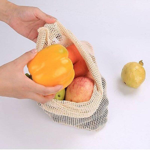 Bolsas de Malla ALGODÓN para la compra ecológica y sostenible, frutas
