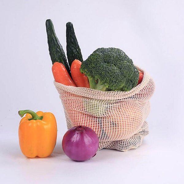 Bolsas de Malla ALGODÓN para la compra ecológica y sostenible, toamtes, pimientos