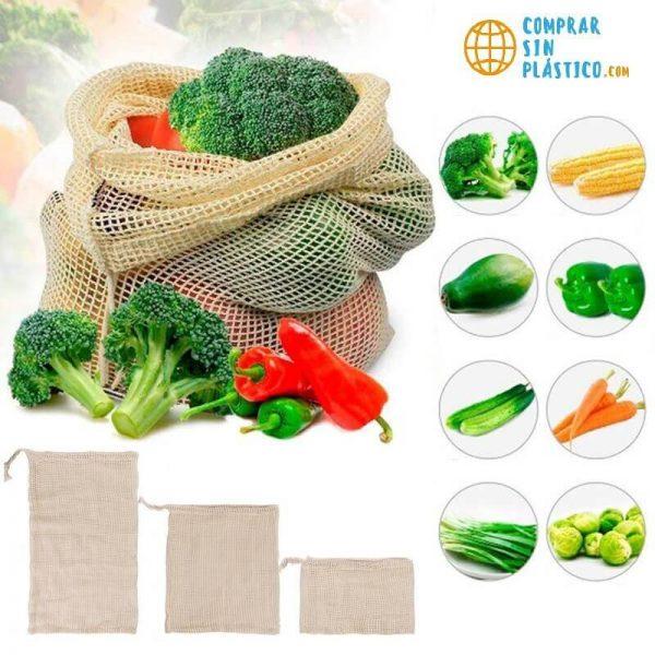 Bolsas de Malla ALGODÓN para la compra ecológica y sostenible, ejemplos de fruta que puede transportar