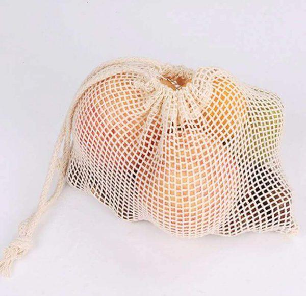 Bolsas de Malla de ALGODON Reutilizable Para la compra y uso diario, COMPRAR SIN PLÁSTICO, protege y cuida a los alimentos.