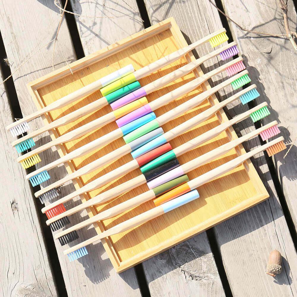 Cepillos De Dientes Redondo BAMBÚ ecológico natural sostenible y reciclable, bamboo ejemplo de presentación