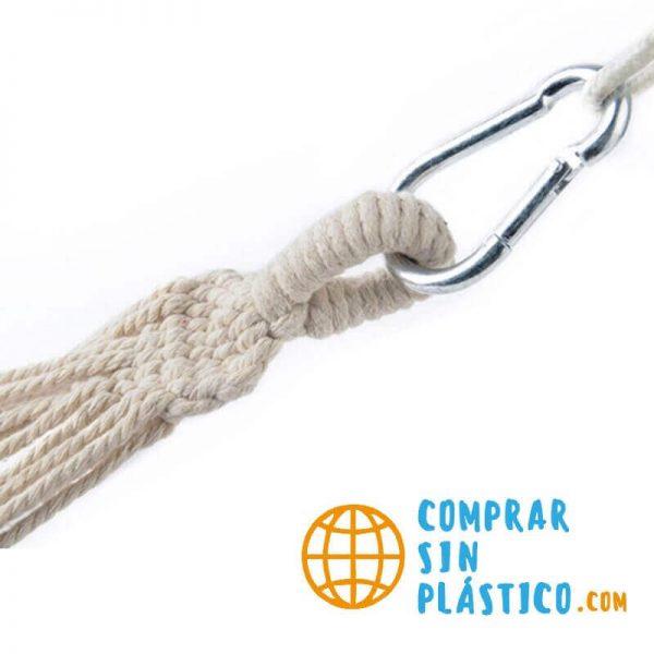 Hamaca Colgante Multicolor ALGODÓN lona ecológica sostenible y natural sin plástico, se necesita mosquetón para colgar hamaca