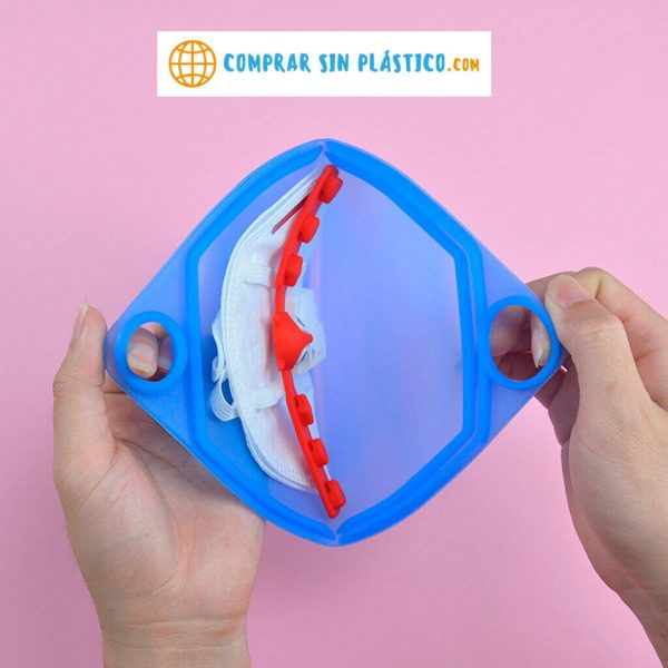 Guarda Mascarilla SILICONA Colores ecológica sostenible reciclable comprar sin plástico anti polvo comprarsinlastico ejemplo de presentación