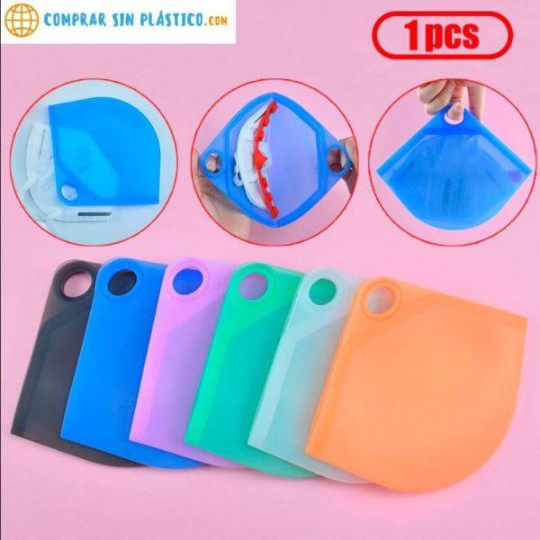guarda mascarilla silicona colores conjunto de Guarda Mascarilla SILICONA Colores ecológica sostenible reciclable comprar sin plástico anti polvo comprarsinlastico surtido mix variado
