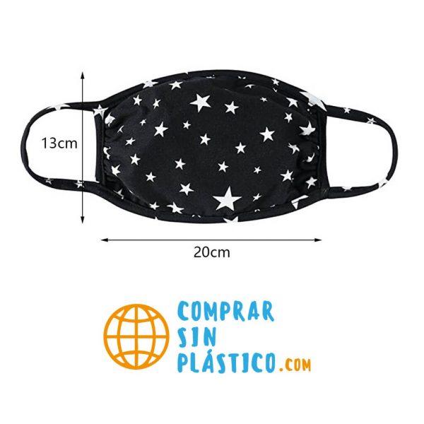 Mascarilla ALGODON Cielo Estrellas diseño ecológica comprar sin plástico