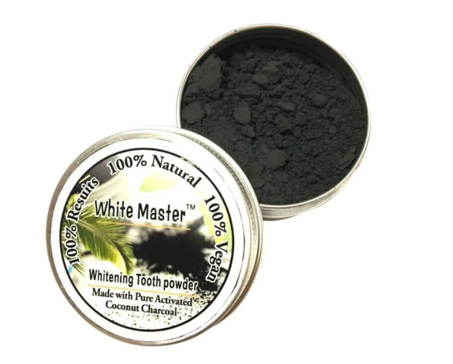 Polvo Natural Blanqueador Dientes solido en caja de metal, sostenible ecológica natural y salud para el medio ambiente bis