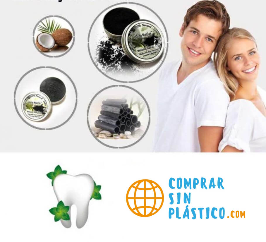 Polvo Natural Blanqueador Dientes solido en caja de metal, sostenible ecológica natural y salud para el medio ambiente eco
