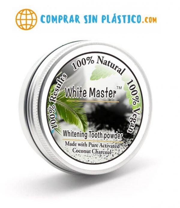 cajita metal Polvo Natural Blanqueador Dientes solido en caja de metal, sostenible ecológica natural y salud. Comprar sin plástico