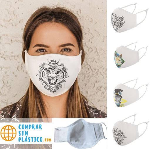 Mascarilla Deportiva Diseño Animales. Facemask. Tapabocas. Ecológico y sostenible. Protección para contaminación. modelo landpage mascarilla diseño