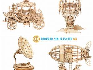 Juguete de Piezas de Madera, globo, Zeppelin, carroza y gramófono, comprar sin plástico, ecológico, sostenible, para niños
