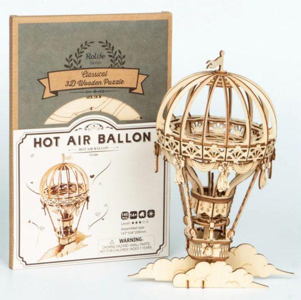 Juguete de Piezas de Madera, globo de aire caliente, comprar sin plástico, ecológico, sostenible, para niños