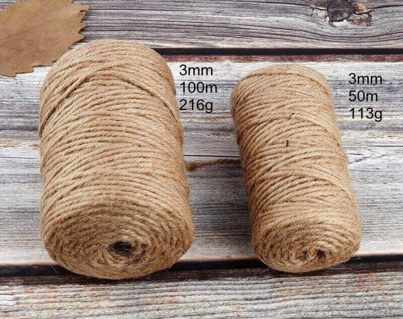 Cuerda Natural de Cáñamo Artesanal ecológico sostenible reciclable, compostable DIY bisutería y artesania (2)