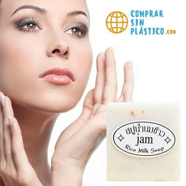 Jabón de Leche y Arroz Artesanal, ingredientes naturales y productos ecológicos en COMPRAR SIN PLASTICO. Limpieza facial y piel