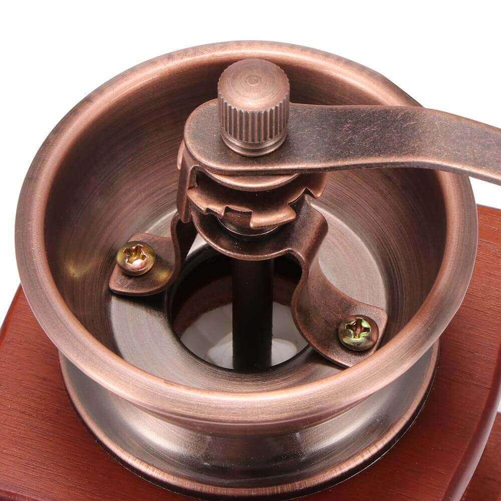 Molinillo de Café Manual Clásico, forma delicada para el café manual Metal y Madera. Comprar Sin Plástico. café Sostenible y ecológico. cazo de metal