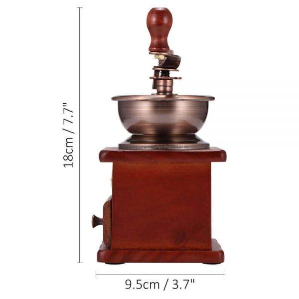 Molinillo de Café Manual Clásico, forma delicada para el café manual Metal y Madera. Comprar Sin Plástico. café Sostenible y ecológico. centímetros