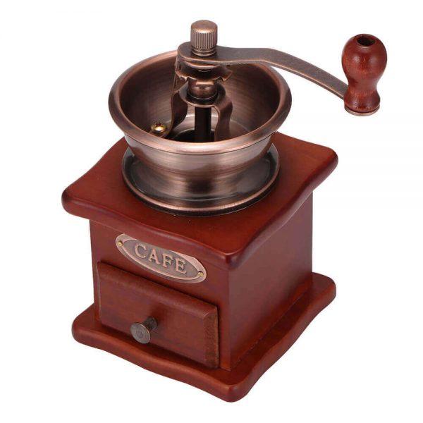 Molinillo de Café Manual Clásico, forma delicada para el café manual Metal y Madera. Comprar Sin Plástico. café Sostenible y ecológico. gran aparato