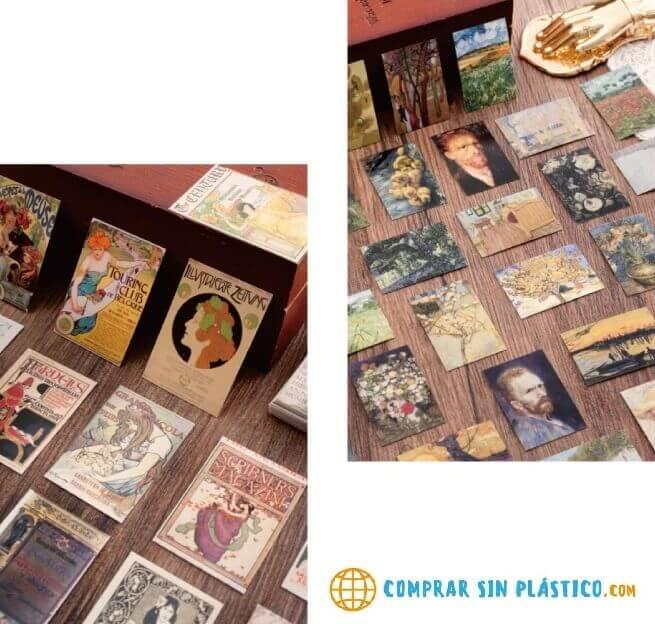 Tarjetas de Papel Diseño 100uds, para coleccionar, juntar, reunir y cambiar, ÚNICAS, COLECCINABLES, comprar sin plástico, productos sostenibles, ecológicos y reciclables